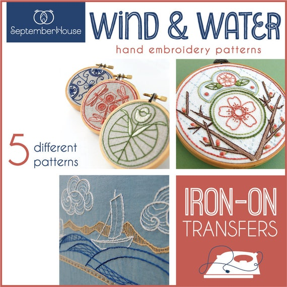 Embroidery Patterns Wind Water Iron On Transfers For Hand Etsy