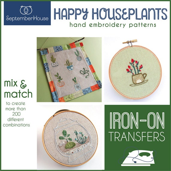Embroidery Patterns Happy Houseplants Iron On Transfers For Etsy