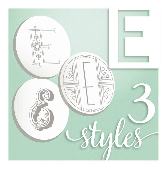 Modern Monograms Letter E Hand Embroidery Patterns In Three Etsy