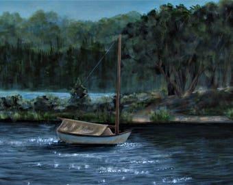 "Original Acrylic Painting Sailboat Sparkles Landscape Signed 18""x 24"""