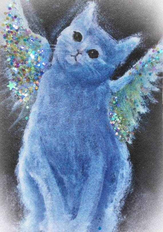 ACEO Free Shipping Gray Cat with teapots print from Original Watercolor painting