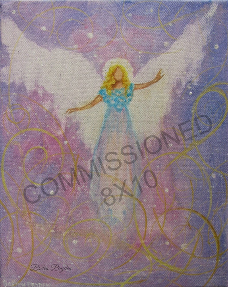 Commissioned  8x10 Acrylic Painting of YOUR Guardian Angel image 0