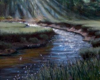 "Original Acrylic Painting Marsh River Sunlight Landscape Signed 14""x 14"""