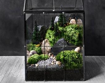 Large Greenhouse Moss Terrarium with Landscape Scene in Geometric House-shaped Vessel
