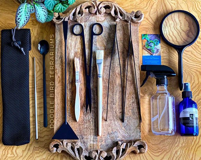12 Piece Professional Tool Set for Terrarium Construction and Maintenance add on DIY Book