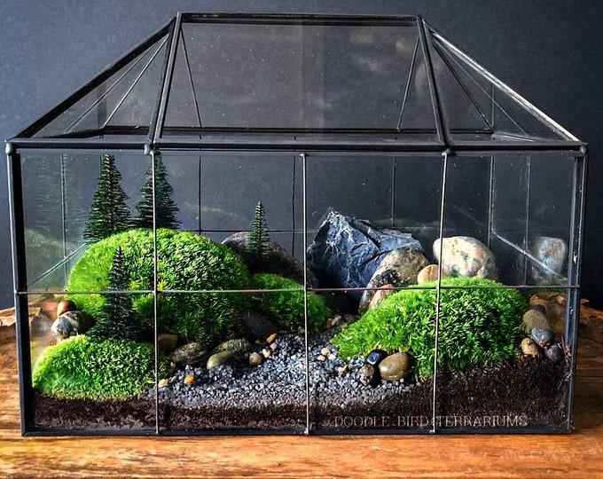 Geometric Glass House Terrarium with Mossy Woodland Garden