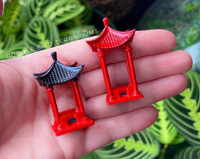 Miniature Red Pagoda Pavilion for Terrarium Gardens