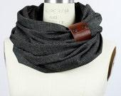 Chunky charcoal plaid circular infinity scarf, unisex , men's scarf, women scarf