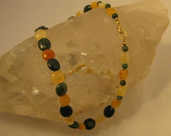 Moss Agate and Yellow Quartz Necklace