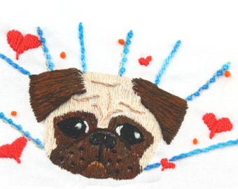 Pug Embroidery Design Pug Pattern Dog Embroidery Hand Embroidery Design