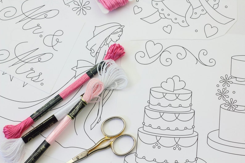 Wedding Embroidery Pattern Set Hand Embroidery Design Instant image 0