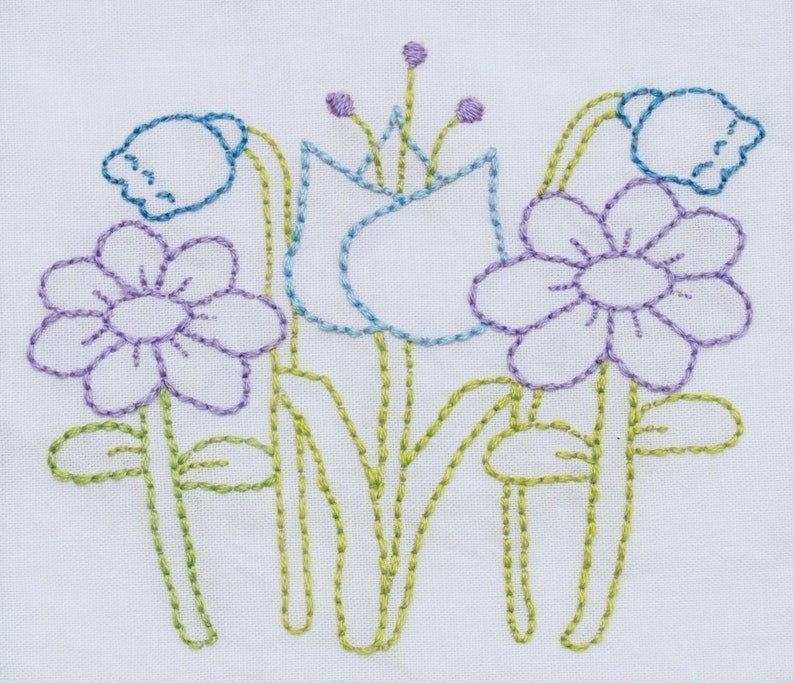 flowers embroidery pattern packet flower embroidery design image 0