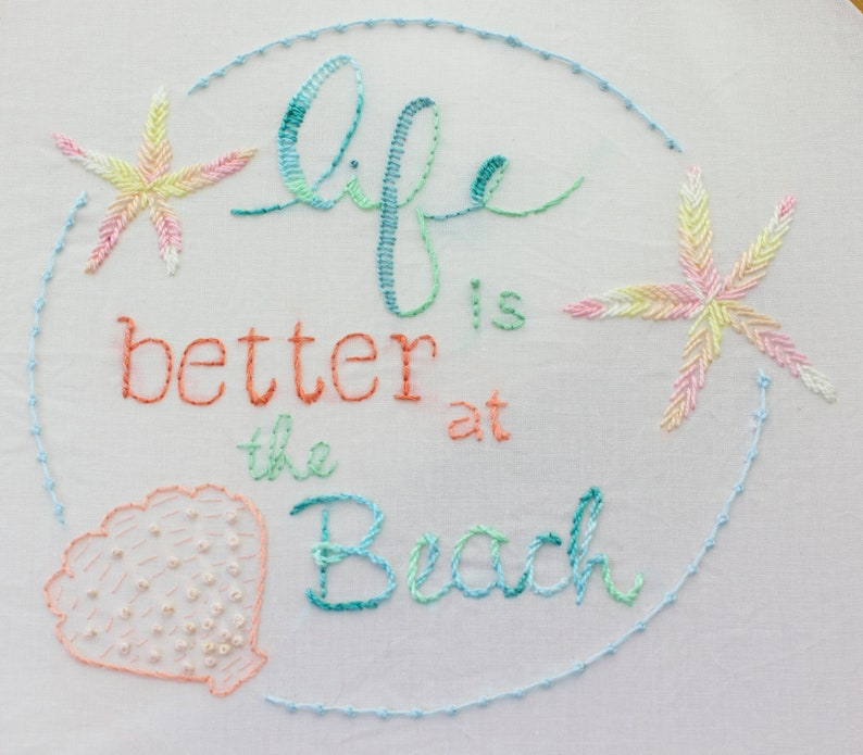 Beach House Embroidery Pattern Hand Embroidery Beach House image 1