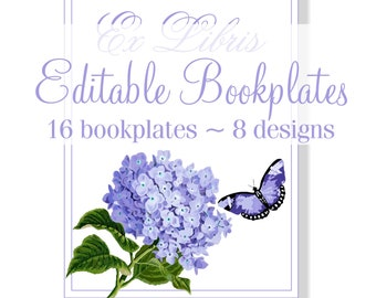 Editable Bookplates, Printable Bookplates, Hydrangea Theme, Bookworm Gift, Book Club Gift