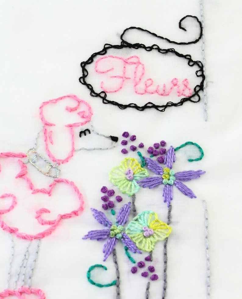 Poodle Embroidery Pattern Le Caniche Embroidery Design Paris image 0