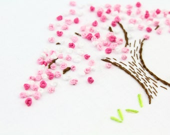Cherry Blossom Embroidery Pattern Hand Embroidery Pattern