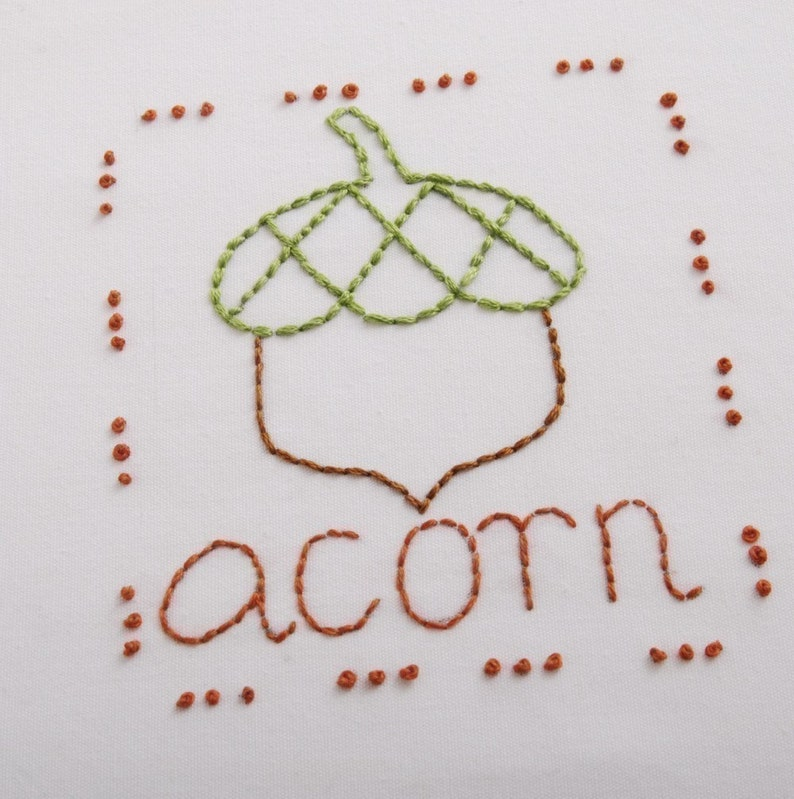 Acorn Embroidery Pattern Packet Acorn Design Autumn Leaves image 0