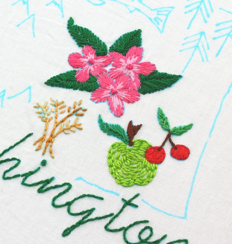 Washington State Embroidery Design Hand Embroidery Pattern image 0