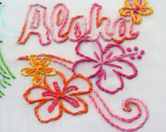 Hawaii Embroidery Design Aloha Luau theme Hawaiian hand embroidery pattern Hawaiian art