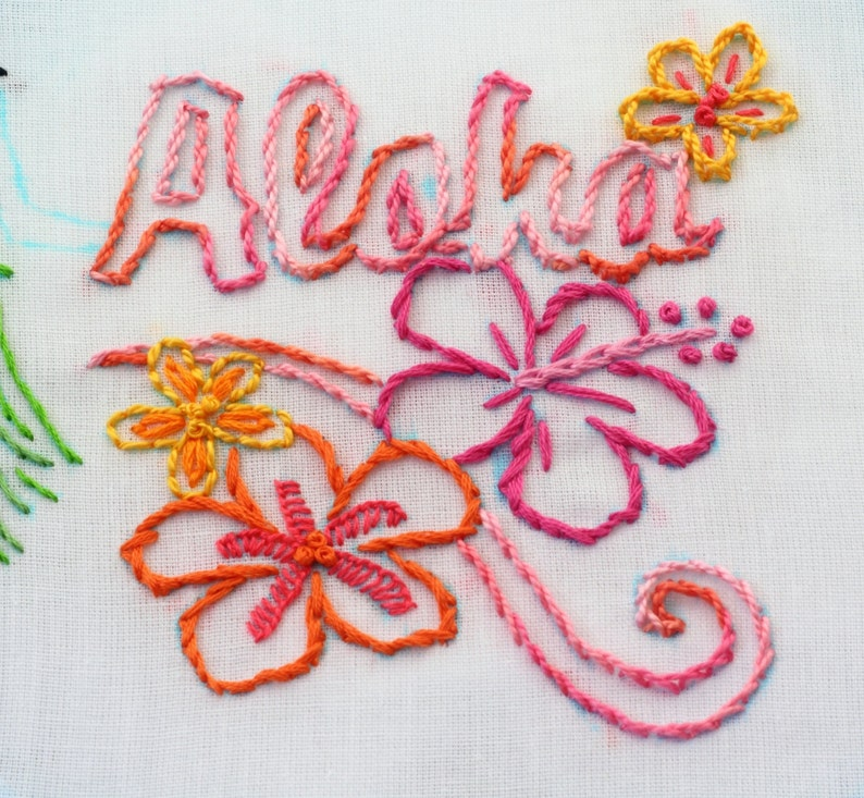 Hawaii Embroidery Design Aloha Luau theme Hawaiian hand image 0