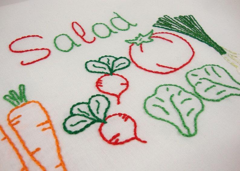 Salad Embroidery Design Tomato Design Vegetable Art image 0