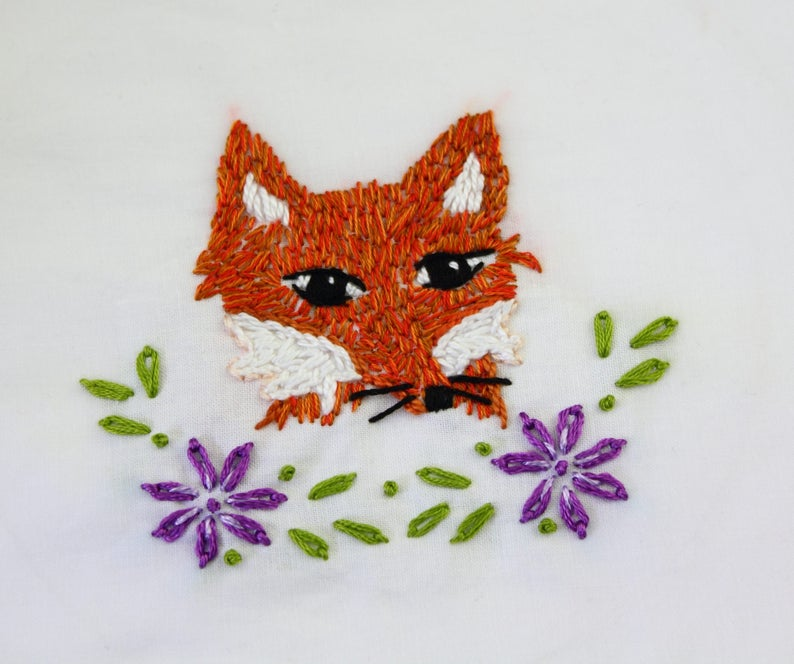 Fox Embroidery Design Fox Hand Embroidery Pattern image 0