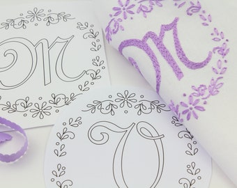 Monogram Embroidery Hand Embroidery Monogram French Script Monogram Letter Embroidery