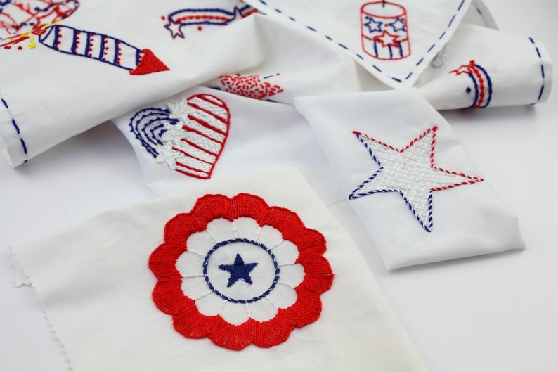 4th of July Embroidery Pattern Hand Embroidery Firecracker image 0