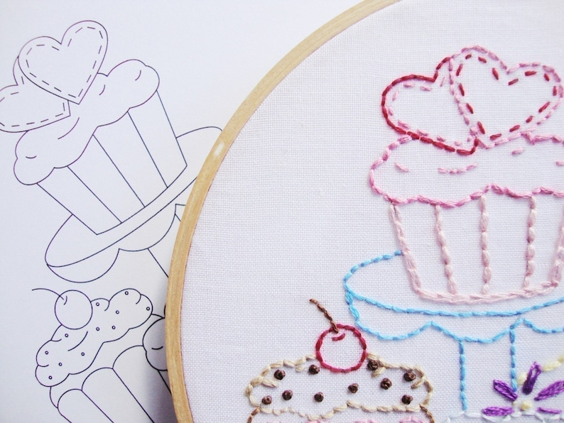 Cupcake Embroidery Pattern Hand Embroidery Cupcakes Pattern image 0