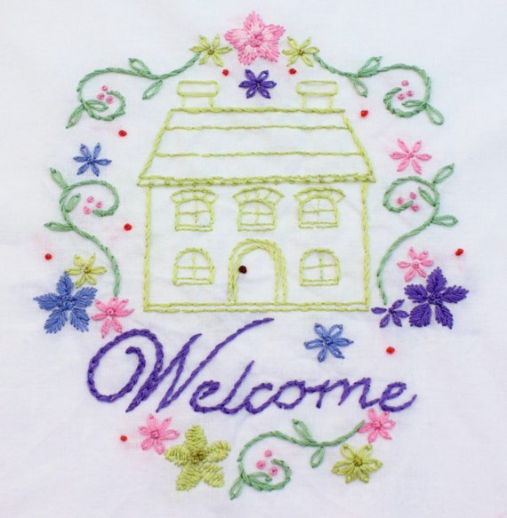 Home Sweet Home Hand Embroidery Pattern House Design Home Is Etsy
