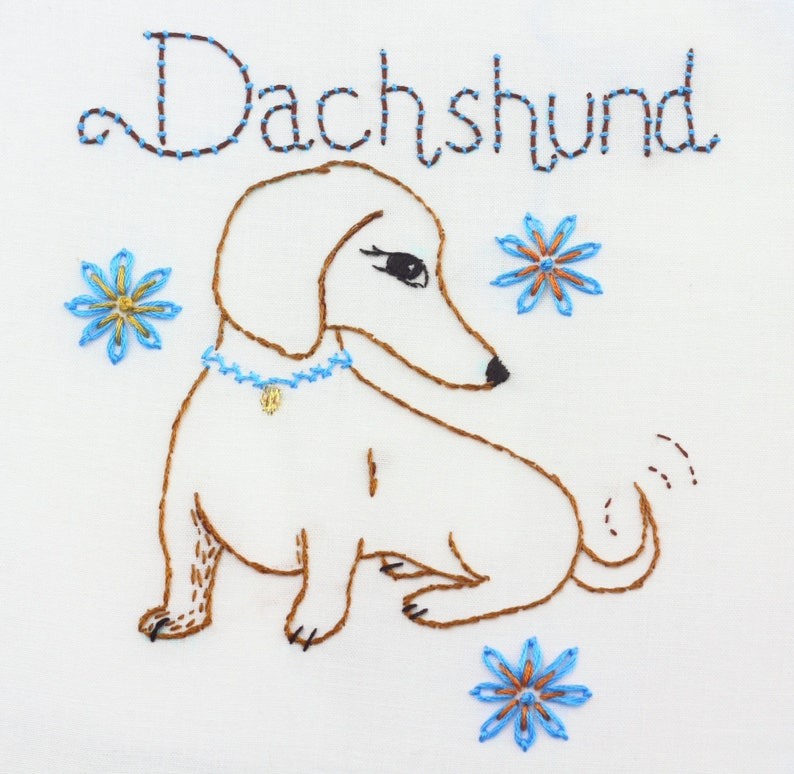 Dachshund Embroidery Design Doxie Pattern Hand Embroidery image 0