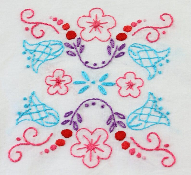Folk Art Flowers Embroidery Design Hand Embroidery Pattern image 0