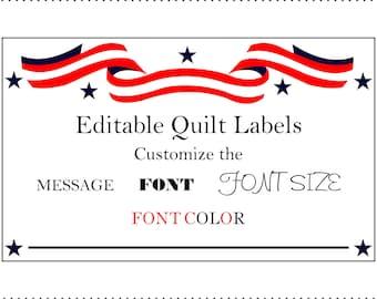 Patriotic Quilt Labels Editable Printable Quilt Labels