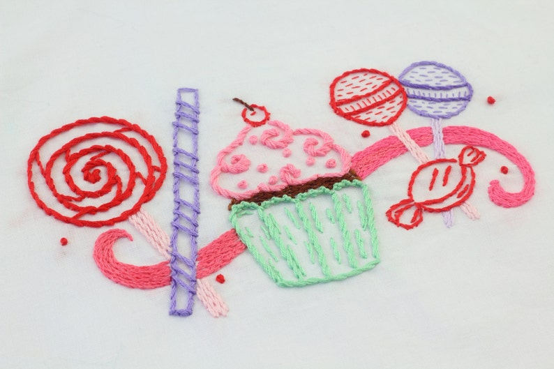 Candy Embroidery Design Candy and Sweets Hand Embroidery image 0