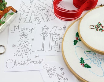 Christmas Village Embroidery Design Hand Embroidery Pattern