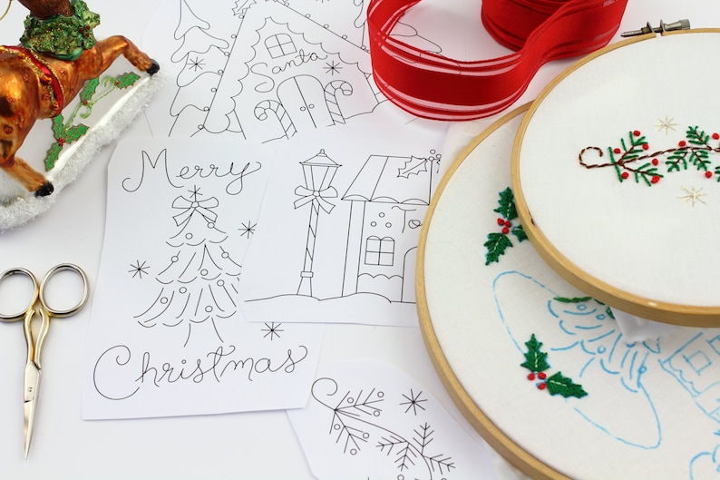 Christmas Village Embroidery Design Hand Embroidery Pattern image 0