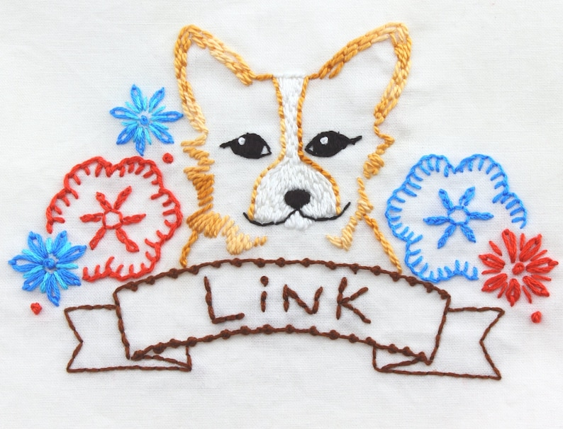 Corgi Embroidery Design Hand Embroidery Pattern Dog Embroidery image 0