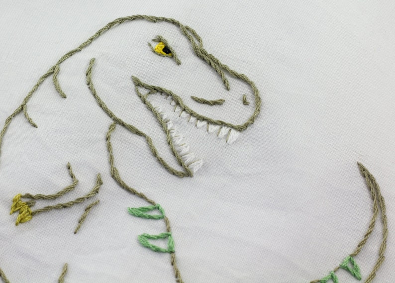 Dinosaur Embroidery Pattern Dinosaur Embroidery Design image 0