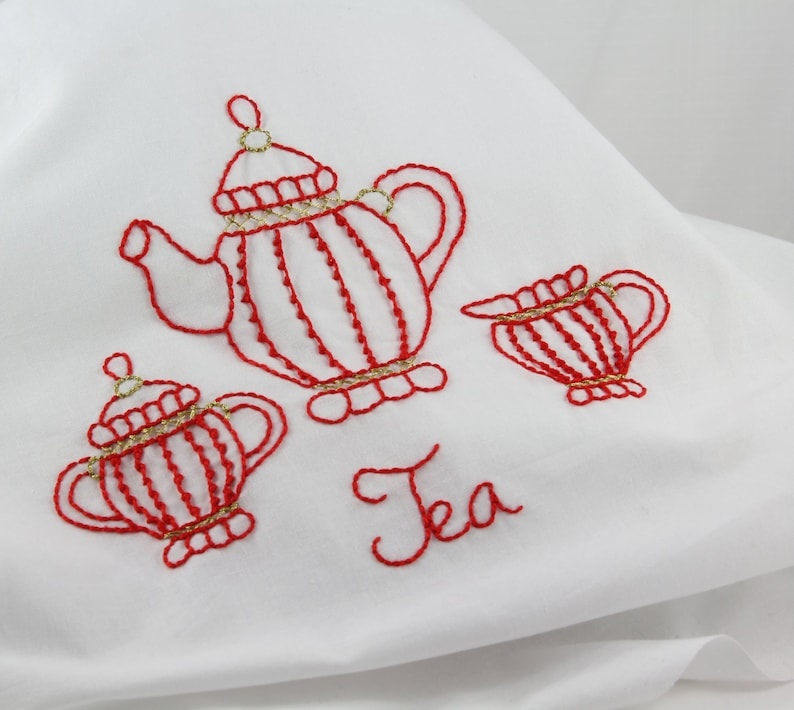 Embroidery Pattern Hand Embroidery Tea Embroidery Pattern image 0