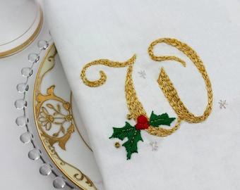 Christmas Monogram Embroidery Hand Embroidery Monogram