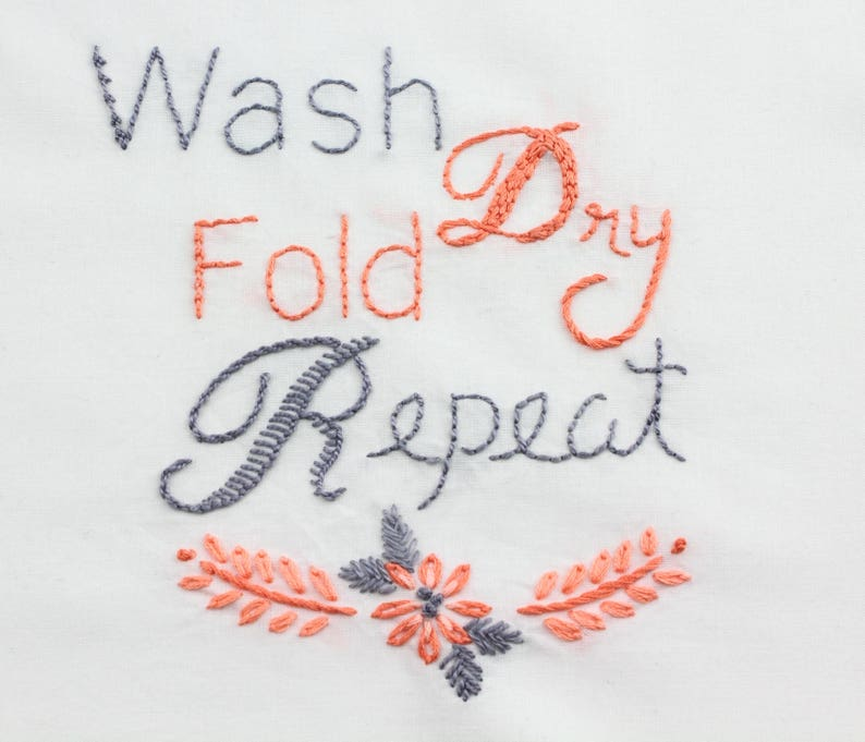 Laundry Room Embroidery Design Laundry Hand Embroidery Pattern image 0