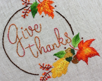 Thanksgiving Embroidery Pattern Hand embroidery Thanksgiving Design Harvest Embroidery