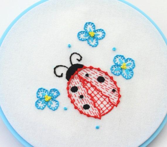 Ladybug Embroidery Pattern Mushroom Design Hand Embroidery Etsy