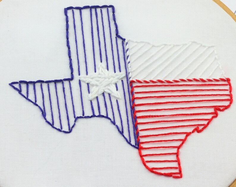 Texas Embroidery Design Texas Embroidery Pattern Hand image 0