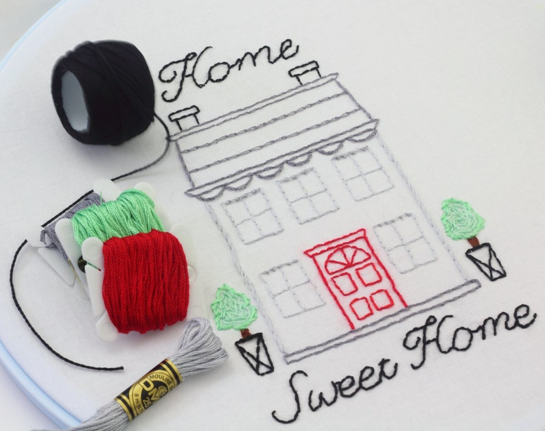 Home Sweet Home Hand Embroidery Pattern House Design Home Is image 0