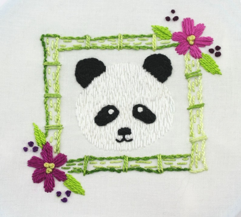 Panda Embroidery Design Panda Bear Embroidery Pattern Hand image 0