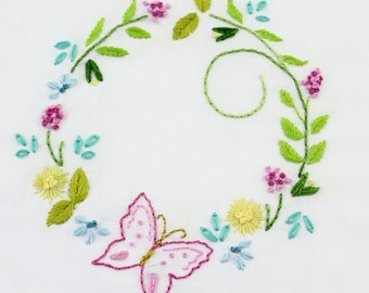 Butterfly Garden Embroidery Design Butterfly hand embroidery pattern