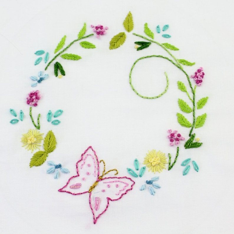 Butterfly Garden Embroidery Design Butterfly hand embroidery image 0