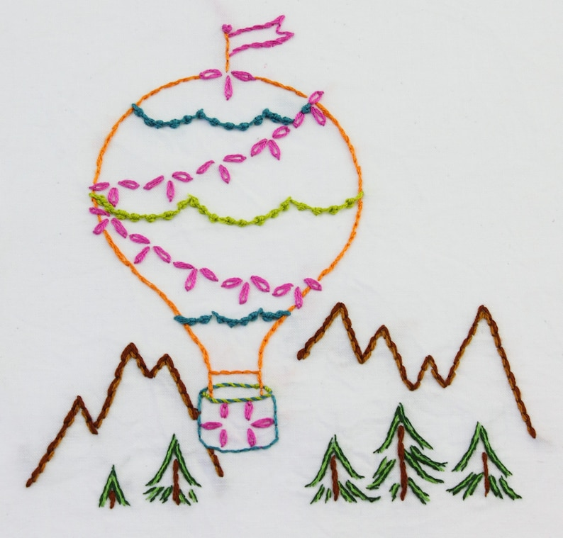 Hot Air Balloon Embroidery Design Hand Embroidery Design image 0