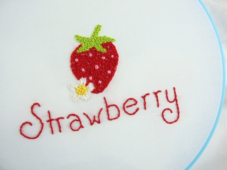 Strawberries Embroidery Pattern Packet Strawberry Embroidery image 0